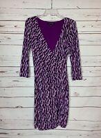 41 HAWTHORN Stitch Fix Women's L Large Purple Black Faux Wrap Cute Spring Dress