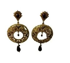 Black gold tone statement fashion earrings crystals studded hoop beaded drops