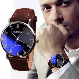 Mens Leather Wrist Watch Watches Analogue Quartz Fashion Gift Black Brown