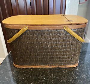 Burlington Hawkeye Picnic Basket, Brown, Wicker, Weave
