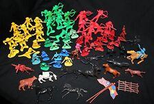 "COWBOYS & INDIANS Lot w/ Horses, Cow & Flags 70+ Pieces 1 1/2"" - 3"" Plastic Toys"
