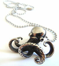 Steampunk Octopus Silver Pendant Necklace Vintage Stainless Steel Ball Chain 24""