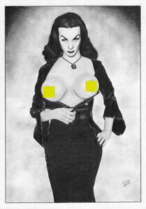 VAMPIRA MORTICIA Elvira Frankenstein hallowen mistress sexy PIN-UP ORIGINAL ART