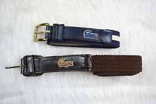 "Men's Lacoste Alligator Emblem Woven Belts Lot of two. 36"". Blue And Brown"