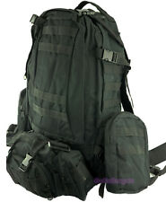 4pc Backpack Survival Gear Bug Out Bag Tactical Military Day Pack 50L BLACK
