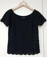 Newlook Women's Knitted Top Size UK 6 Black Crochet Short Sleeve Casual Fashion