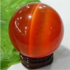 100MM + STAND Sell ASIAN QUARTZ RED CAT EYE CRYSTAL BALL SPHERE @#@