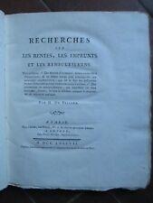 DU VILLARD : RECHERCHES SUR LES RENTES, EMPRUNTS ET REMBOURSEMENS, 1787. E.O.