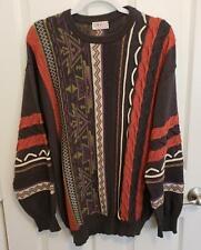Vintage Mens CanAm Von Kirschbaum Gray Green Lavender Coral Sweater Size M/L