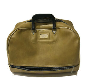 Vintage 1960s 2 Compartment Mustard Yellow Leather Overnight Travel Toiletry Bag