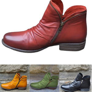 Women's Casual Thick Heel Flates Round Toe Short Boots Set Zipper Casual Shoes