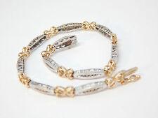 "14k Yellow/White Gold Diamond I Love You Heart Tennis 7.5"" Bracelet 7g or Scrap"