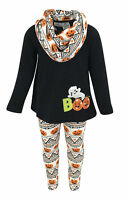 Girls Halloween Pumpkin Outfit Boutique Toddler Kids Clothes Set 2t 3t 4-8 Top