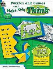 Puzzles and Games That Make Kids Think, Grade 3 by Garth Sundem (2009,...