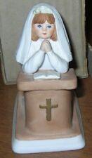 Vintage 1982 Enesco Porcelain Praying Girl Communion Figurine