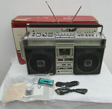 VINTAGE RADIO CASSETTE BOOMBOX SHARP GF-9696Z BOX AND USER MANUAL WORKS RESTORE