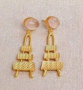 Handmade Matte Gold Polish Rose Quartz Stone Dangle Drop Earring-E14-236-2