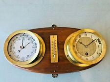Vintage Aneroid wall mount brass ship clock and barometer