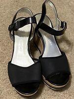 Anne Klein AK Sport Womens 8.5 M Black Cork Wedge Slingback Sandals Shoes