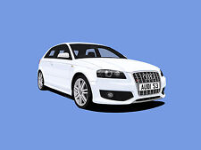 AUDI S3 MK2 CAR ART PRINT PICTURE (SIZE A4). PERSONALISE IT!