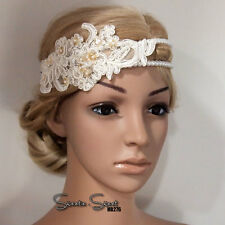 1920s Gatsby Flapper Ivory Lace Wedding Bridal Fascinator Peral Bead Headband