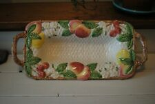Vintage Fitz and Floyd Fruit Basket Weave Pattern Rectangle Serving Platter