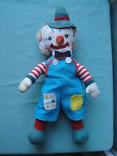 IDEAL DOLL Co.Vintage Clown Doll plush*JAPAN*circus toy boy overalls hat star