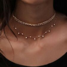 UK BOHO BEAD & CRYSTAL CHARM CHOKER MULTI LAYER NECKLACE Gold Chain Jewellery