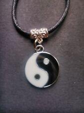 Black waxed cord Yin Yang Chinese Feng Shui necklace / choker Ying Yang Peace