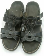 Clarks Slides Leather Womens 8 M Sandals Low Heel Wedge Shoes Open Toe Black
