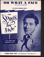 Oh What A Face 1951 Winner of Songs For Sale Jan Murray Sheet Music