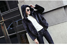 High Quality Rex Rabbit Fur Coats for Women Jacket Outwear Black Fur Coat Hoodie