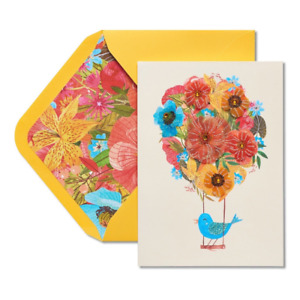 Lovely Papyrus Mother's Day card - Fabric & Jewel Flower Balloon with Blue Bird