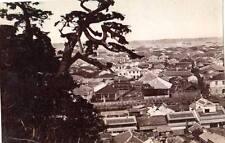 Albumen image c1880's Japan Birds eye view Yokahama ships Port bonsai