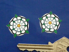 YORKSHIRE White Rose of York Car STICKERS 25mm Pair Bike Vintage Classic Pride