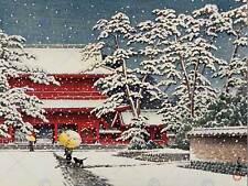 CULTURAL LANDSCAPE JAPAN TEMPLE Kawase Hasui SNOW WINTER POSTER ART PRINT BB794B