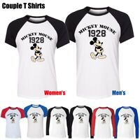 Cartoon Disney Mickey Mouse 1928 Design Couples T-Shirt Mens Womens Graphic Tee