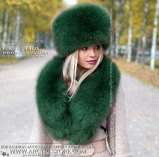 Emerald Green winter hat & collar. Premium quality brand fox fur accessories