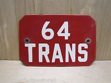 Old Porcelain 64 Trans Sign Industrial Factory Equipment Safety Gas Oil Auto Ad