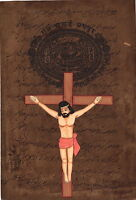 Christian Jesus Christ Painting Rare Handmade Watercolor Art on Old Stamp Paper