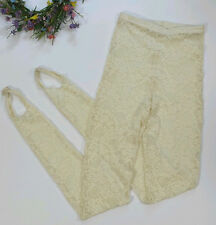 American Apparel Stirrup Leggings Women's Large Ivory Stretch Sheer Lace Discont