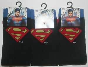 3 PAIRS OF BRAND NEW MEN'S OFFICIAL D.C COMICS SUPERMAN SOCKS SIZE 6-11