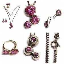 Silberset 925er Silber Set Kette Anhänger Ohrringe Ring Lumani rosa pink Steine