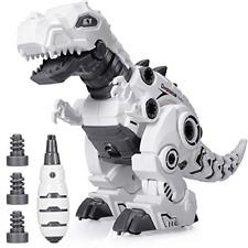BEESTECH LED Walking Robot Dinosaur Toy, Take Apart Dinosaur Toys for 3, 4,5,6 5