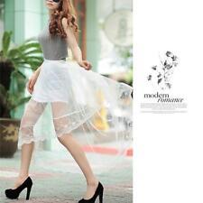Women,High Waist Sheer Gauze Mesh Tulle Lace Floral Gothic Long Maxi Skirt Dress