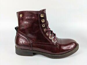 Xti Girls Burgundy Patent Boots Size 2 Eu 34