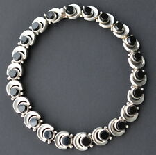 ANTONIO PINEDA MEXICAN STERLING SILVER AND ONYX NECKLACE TAXCO MEXICO c1960