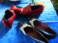T40=== 2paires chaussures cuir femme ====  renée dhéry et picholinos  bon état