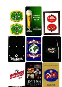 """9 x RARE MINT """"World Beers/Breweries"""" SINGLE Playing Cards"""