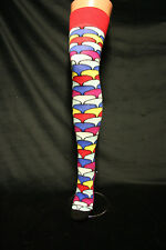 MULTI COLOUR ABSTRACT MUSHROOMS PATTERN OVER THE KNEE FUNKY  SOCKS LONG  SEXY